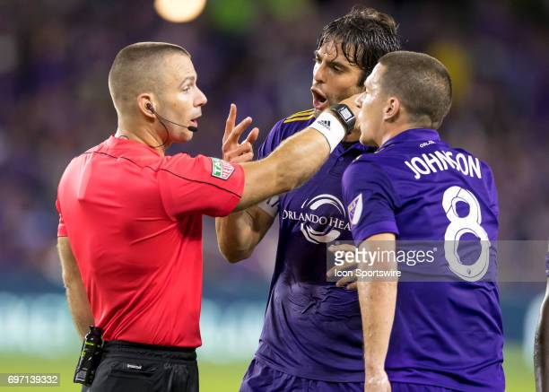Orlando City SC midfielder Kaka and Orlando City SC forward Will Johnson argues the call with the referee During the MLS Soccer match between Orlando...