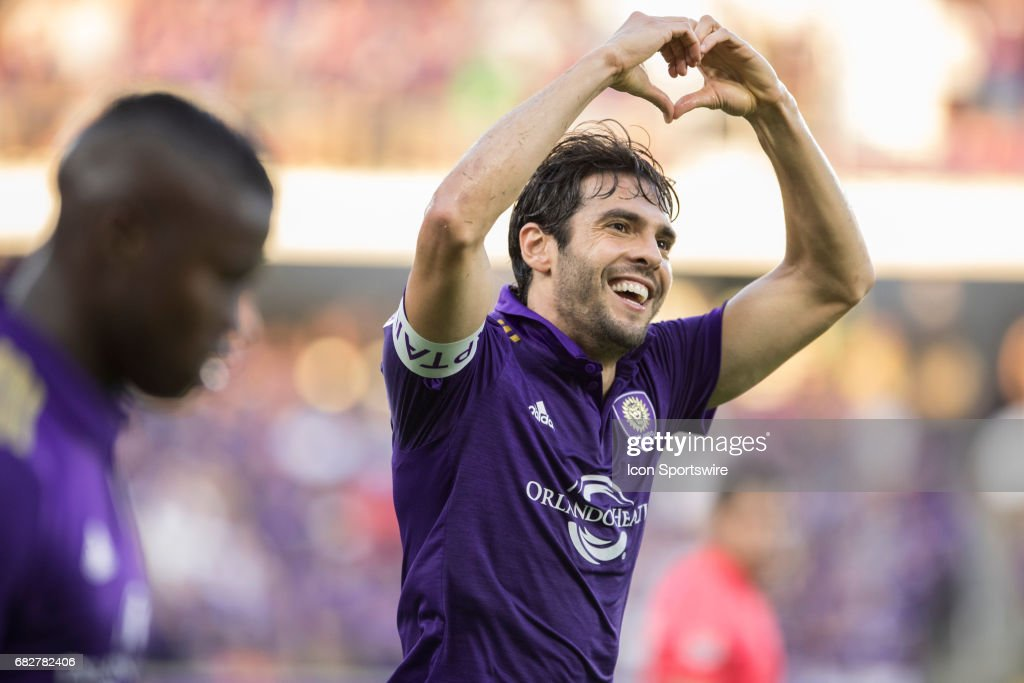 Orlando City SC midfielder Kaka (10) celebrates after scoring a goal during the soccer match between Sporting Kansas City and Orlando City on May 13, 2017 at Orlando City Stadium in Orlando, FL.