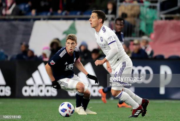 Orlando City SC midfielder Will Johnson looks to switch fields during a match between the New England Revolution and Orlando City SC on October 13 at...