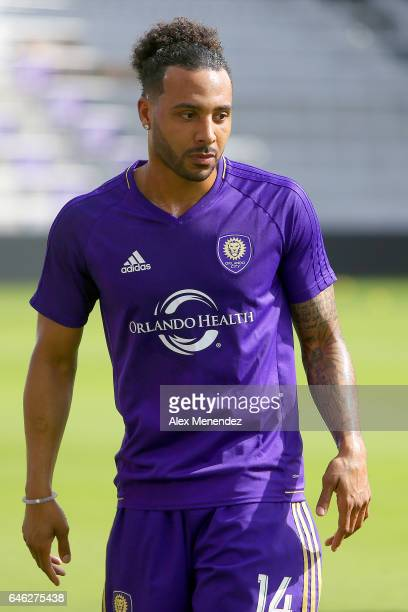 Orlando City SC player Giles Barnes is seen during the Orlando City SC media day event at the Orlando City Stadium on February 28 2017 in Orlando...