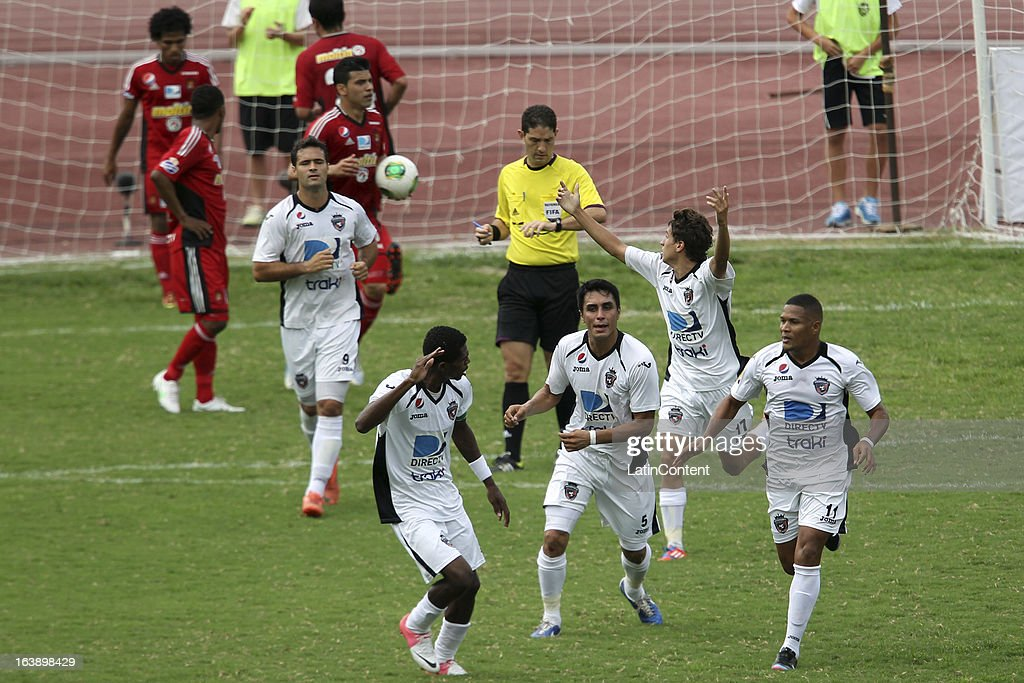 Orlando Cordero of Real Esspor celebrates a goal during the match between Real Esppor Club and Caracas FC at Brigido Iriarte Stadium on March 17, 2013 in Caracas, Venezuela.
