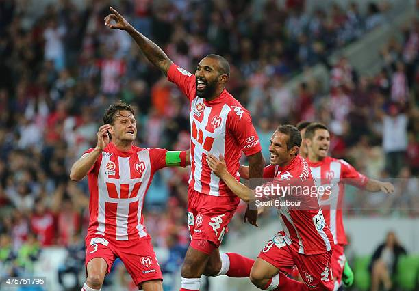 Orlando Engelaar of the Heart is congratulated by his teammates after scoring the first goal of the game during the round 21 ALeague match between...