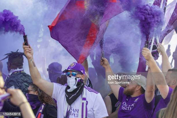 Orlando fans before the soccer match between Real Salt Lake and Orlando City SC on February 29 at Exploria Stadium in Orlando FL