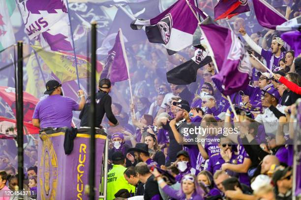 Orlando fans during the soccer match between Real Salt Lake and Orlando City SC on February 29 at Exploria Stadium in Orlando FL