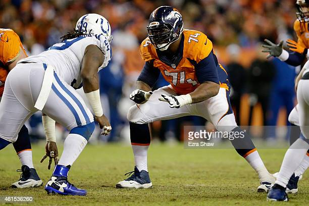 Orlando Franklin of the Denver Broncos lines up against Ricky Jean Francois of the Indianapolis Colts during a 2015 AFC Divisional Playoff game at...