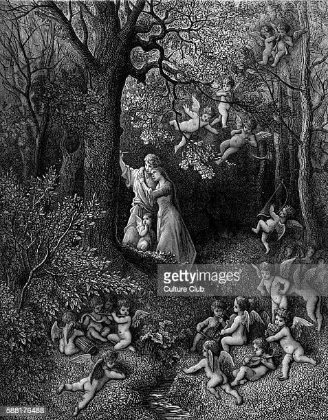 Orlando Furioso by Ludovico Ariosto illustrator Gustave Doré Angelica and Medoro Canto Decimonono Stanza 36 Stanza reads Amid such pleasures where...