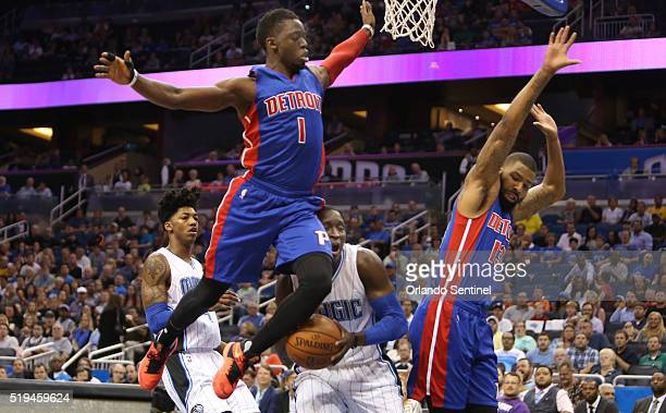 Orlando guard Victor Oladipo collides with Detroit guard Reggie Jackson as forward Marcus Morris tries to avoid contact on Wednesday April 6 at the...
