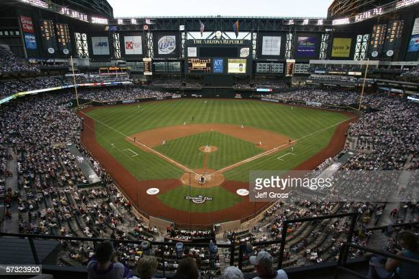 Orlando Hernandez of the Arizona Diamondbacks throws the first pitch during the game against the Colorado Rockies on April 11 2006 at Chase Field in...