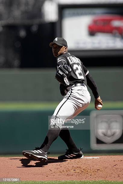Orlando Hernandez of the Chicago White Sox started the game against the Kansas City Royals on April 24 2005 at Kauffman Stadium in Kansas City Mo...