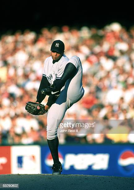 Orlando Hernandez of the New York Yankees pitches during an MLB game on July 13 1998 at Jacobs Field in Cleveland Ohio