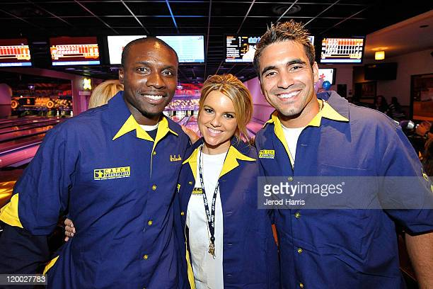 Orlando Hudson Ali Fedotowsky and Roberto Martinez at Orlando Hudson's Strike Out Autism Bowling Fundraiser on July 28 2011 in San Diego California