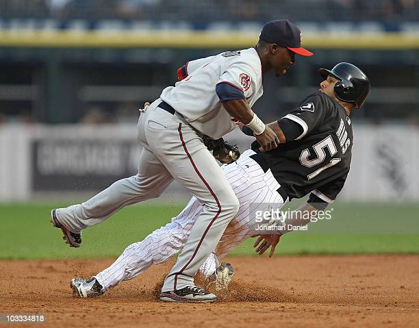 Orlando Hudson of the Minnesota Twins hops out of the way after tagging out Alex Rios of the Chicago White Sox at 2nd base at US Cellular Field on...