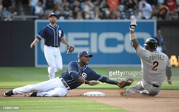 Orlando Hudson of the San Diego Padres tags out Hanley Ramirez of the Miami Marlins as he tries to stretch a single into a double during the first...