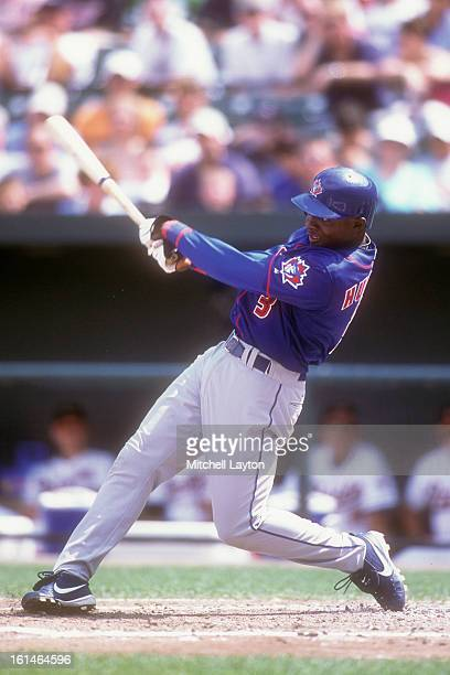 Orlando Hudson of the Toronto Blue Jays takes a swing during a baseball game against the Baltimore Orioles on August 23 2002 at Camden Yards in...