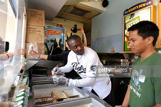 Orlando Hudson serves ice cream at Ben & Jerry's in Seaport Village for National Foundation For Autism Research on April 12, 2011 in San Diego,...