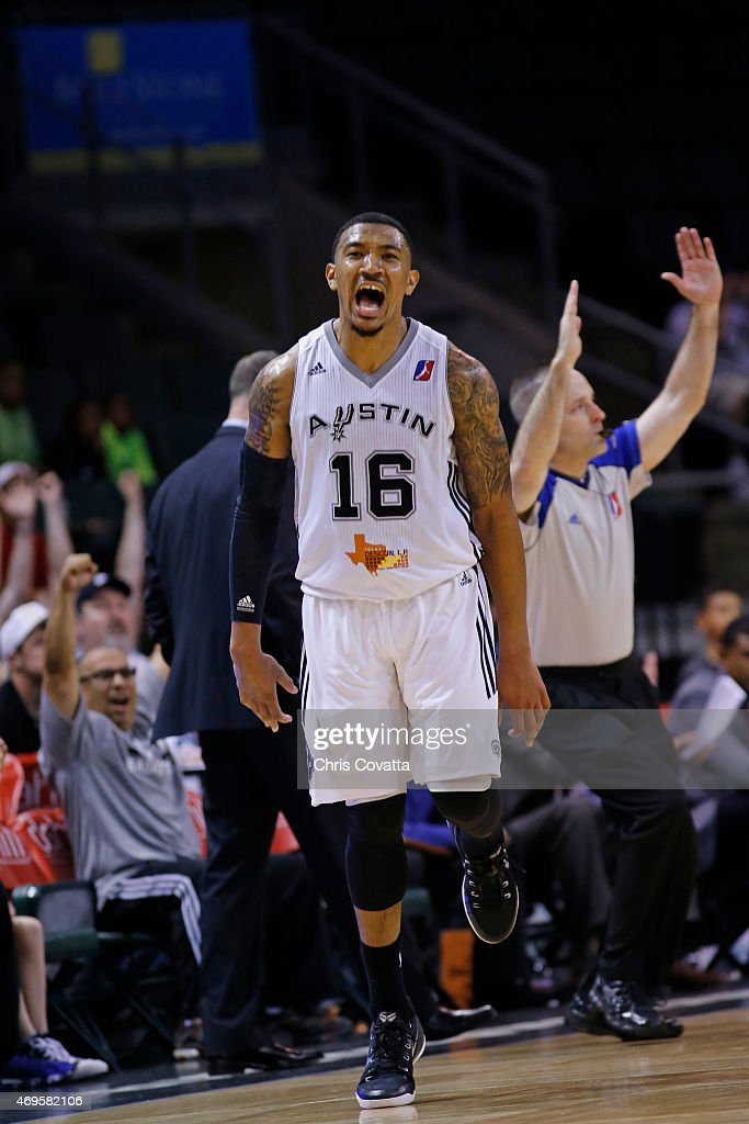 Orlando Johnson #16 of the Austin Spurs celebrates after hitting a shot against the Bakersfield Jam in game three of the 2015 D-League playoffs at the Cedar Park Center on April 12, 2015 in Cedar Park, Texas.