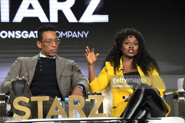 Orlando Jones and Yetide Badaki of 'American Gods' speak onstage during Starz 2019 Winter TCA Panel & All-Star After Party on February 12, 2019 in...