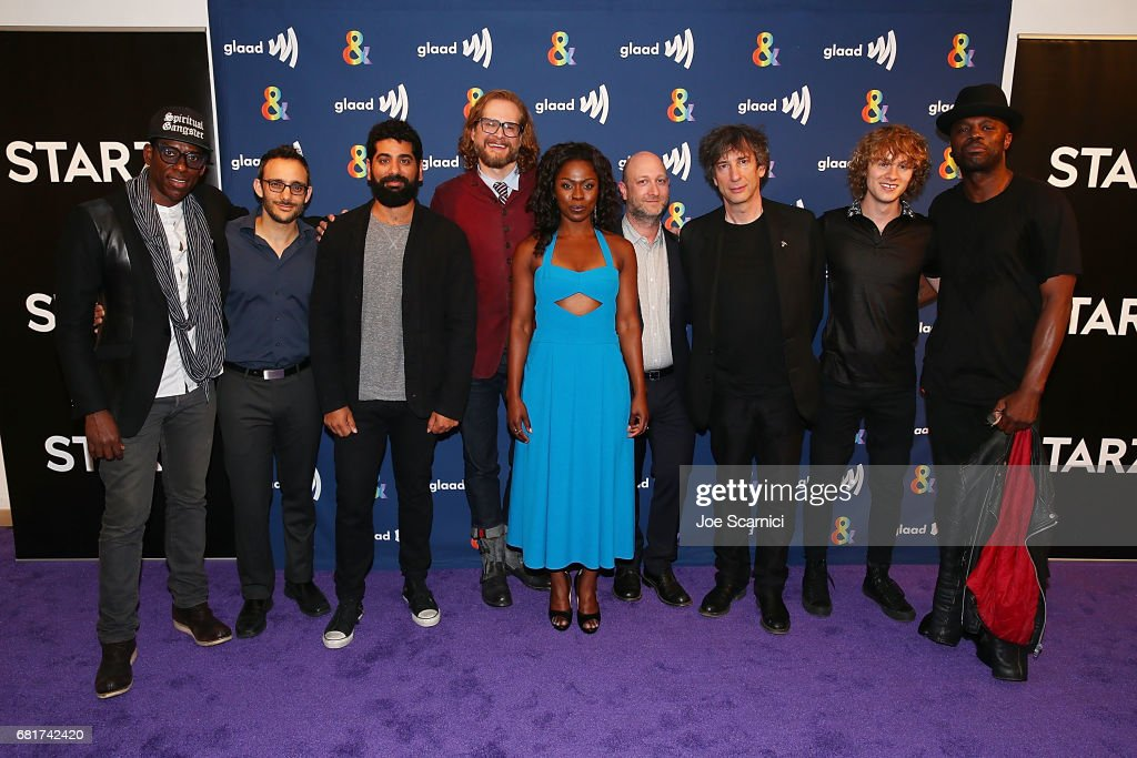 Orlando Jones, Omid Abtahi, Mousa Kraish, Bryan Fuller, Yetide Bakadi, Michael Green, Neil Gaiman, Bruce Langley and Chris Obi arrive at the 'American Gods' advance screening In Partnership with GLAAD at The Paley Center for Media on May 10, 2017 in Beverly Hills, California.