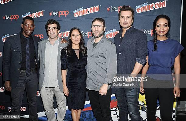 Orlando Jones Sakina Jaffrey Phillip Iscove Len Wiseman and Lyndie Greenwood attend Fox Network's 'Sleepy Hollow' press room at 2014 New York Comic...