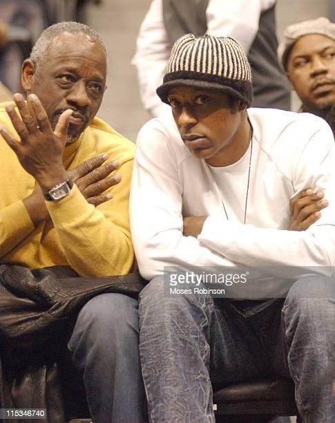 Orlando Jones with his Dad John Jones during Celebrities Attend the Philadelphia 76ers vs Atlanta Hawks Game at Philips Arena in Atlanta GA United...