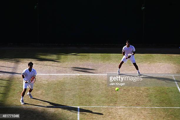 Orlando Luz and Marcelo Zormann during the Boys' Doubles Final match against Stefan Kozlov of the United States and Andrey Rublev of Russia on day...