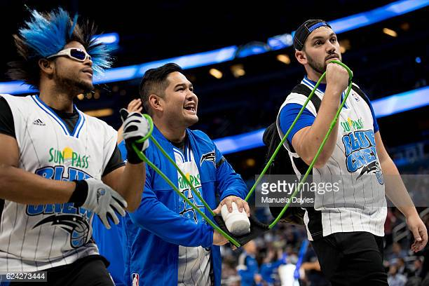 Orlando Magic Blue Crew shoots Tshirts into the crowd during the game against the New Orleans Pelicans on November 16 2016 at Amway Center in Orlando...