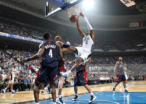 Orlando Magic center Dwight Howard dunks against the Cleveland Cavaliers during the first quarter of Game 6 of the NBA Eastern Conference Finals at...
