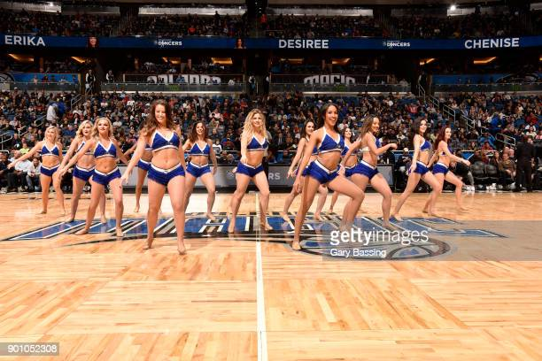 Orlando Magic dancers perform during the game against the Houston Rockets on January 3 2018 at the Amway Center in Orlando Florida NOTE TO USER User...