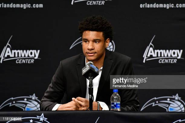 Orlando Magic Draftee Chuma Okeke speaks with the media during a press conference on June 21 2019 at Amway Center in Orlando Florida NOTE TO USER...
