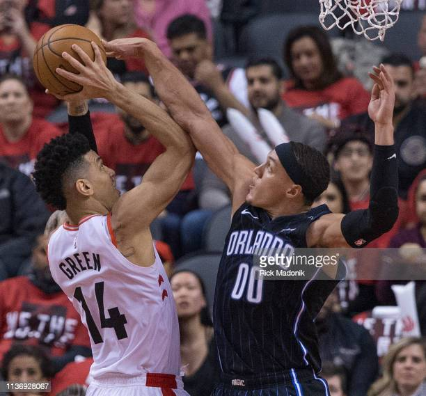 Orlando Magic forward Aaron Gordon with a foul on Toronto Raptors guard Danny Green Toronto Raptors vs Orlando Magic in 2nd half action of Round 1...