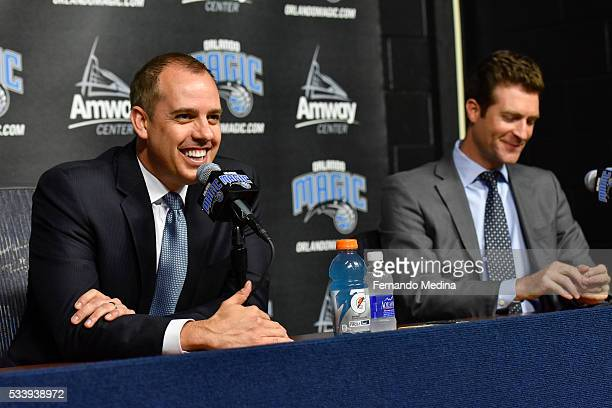 Orlando Magic general manager Rob Hennigan introduces new head coach Frank Vogel during a press conference on May 23 2016 at Amway Center in Orlando...