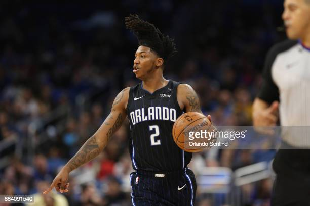 Orlando Magic guard Elfrid Payton dribbles the ball as the Orlando Magic host the Golden State Warriors at Amway Center Friday Dec 1 2017 The...