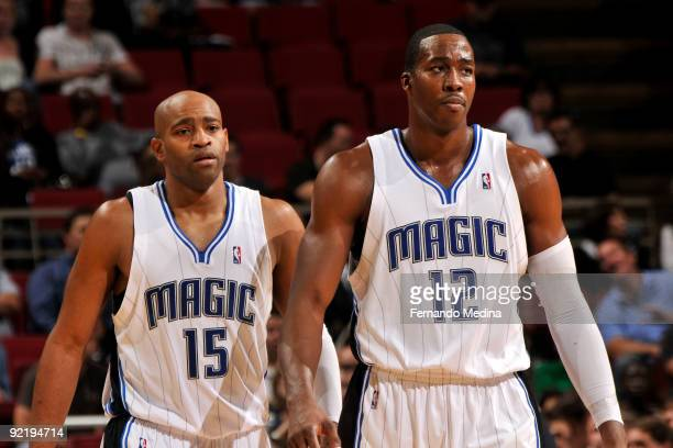 Orlando Magic guard Vince Carter and center Dwight Howard during a preseason game against the Indiana Pacers on October 21 2009 at Amway Arena in...
