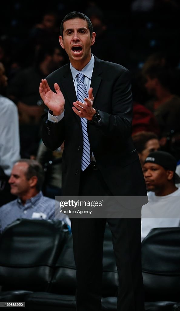 Orlando Magic head coach James Borrego gestures during an NBA basketball game against the Brooklyn Nets at the Barclays Center in the Brooklyn borough of New York City on April 15, 2015.