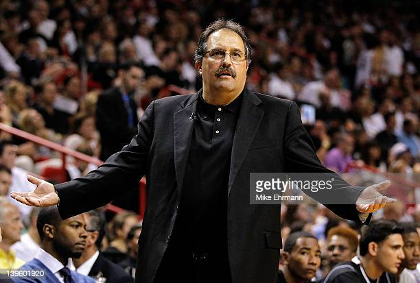 Orlando Magic head coach Stan Van Gundy reacts during a game against the Miami Heat at American Airlines Arena on February 19 2012 in Miami Florida...