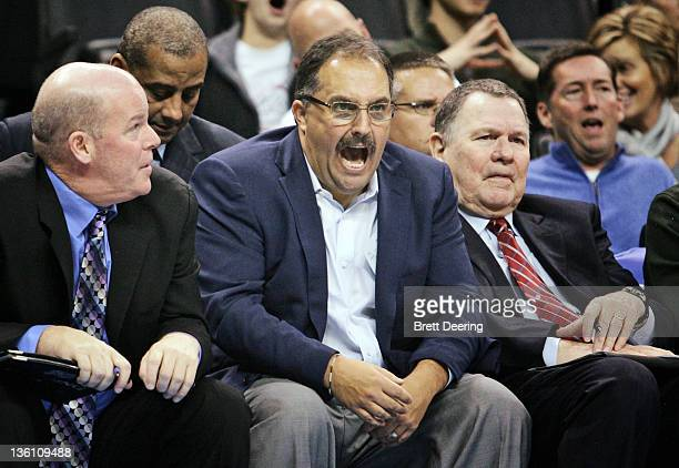 Orlando Magic Head Coach Stan Van Gundy reacts during the NBA season opening game against the Oklahoma City Thunder December 25 2011 at the...