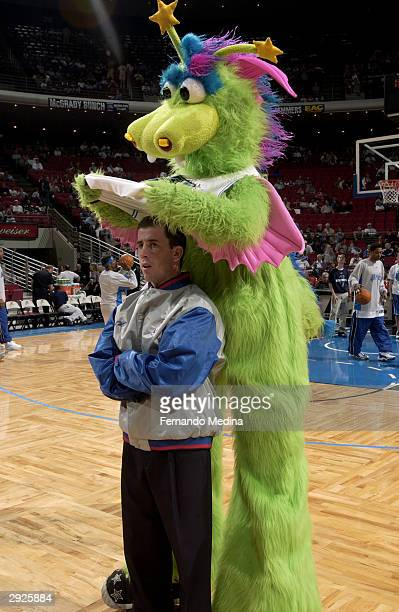 Orlando Magic mascot, Stuff, plays a joke on referee Tim Donaghy before the game against the Houston Rockets at TD Waterhouse Centre on January 25,...
