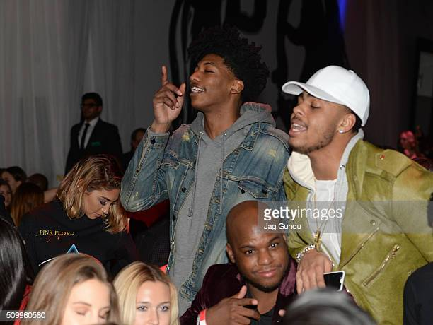 Orlando Magic Player Elfrid Payton and LA Lakers Player D'Angelo Russell attends Bounce Sporting Club Presents The VIP Lounge At MAXIM's All Star...