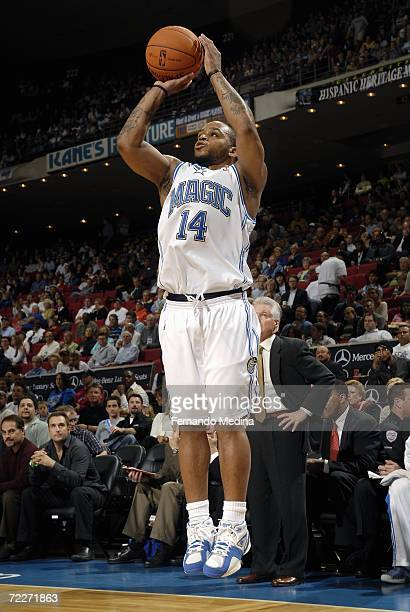 Orlando Magic point guard Jameer Nelson attempts a three point shot against the Miami Heat October 24 2006 at TD Waterhouse Centre in Orlando Florida...