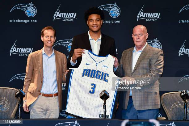 Orlando Magic President of Basketball Operations Jeff Weltman and Head Coach Steve Clifford introduce Cuma Okeke as the 2019 NBA Draftee during a...