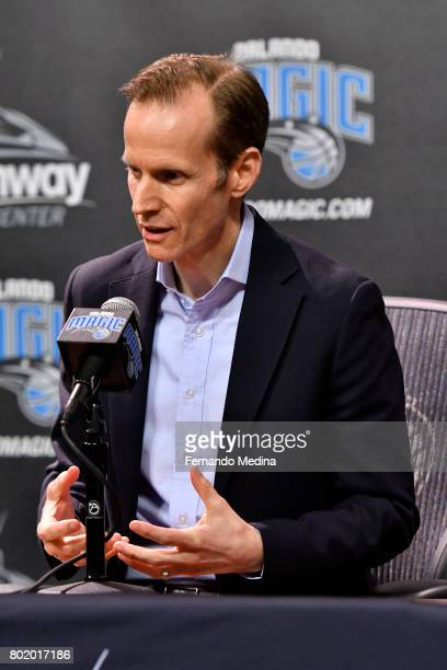 Orlando Magic President of Basketball Operations Jeff Weltman addresses the media during the 2017 NBA Draft on June 22 2017 at Amway Center in...