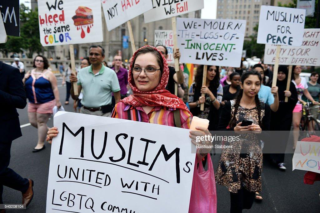 Orlando Massacre Vigil in Philadelphia, Pennsylvania : Stock Photo