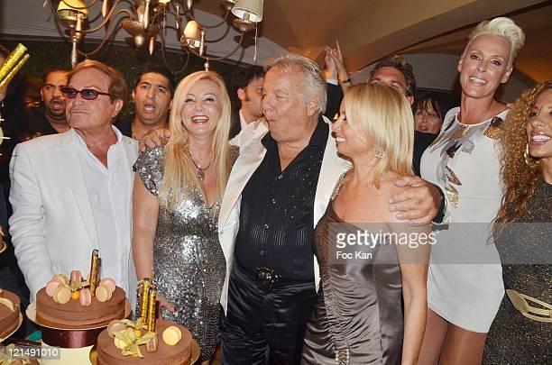 Orlando, Monika Bacardi, Massimo Gargia, Brigitte Nielsen, a guest and Afida Turner attend the Massimo Gargia Summer Party at Les Moulins de...