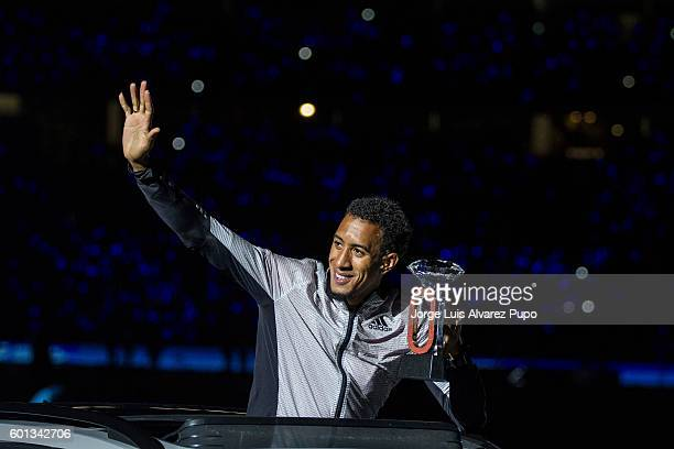 Orlando Ortega of Spain celebrates wih his Diamond Trophy during the AG Insurance Memorial Van Damme IAAF Diamond League meeting at King Baoudoin...