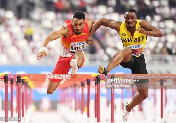 Orlando Ortega of Spain collides with Omar McLeod of Jamaica in the Men's 110 metres hurdles final during day six of 17th IAAF World Athletics...