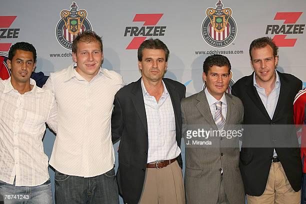 Orlando Perez Brad Guzan Club Deportivo Guadalajara's Vice President of Soccer Nestor de la Torre alongside Chivas USA President and CoOwner Antonio...