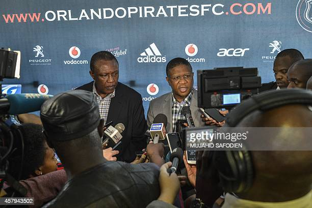 Orlando Pirates and South African Premier League chairman Doctor Ivan Khoza and South African Minister of Sport Fikile Mbalula give a press...