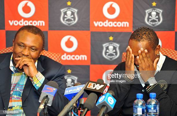 Orlando Pirates chairman Irvin Khoza and Benni McCarthy attend a press conference as McCarthy is unveiled as the Orlando Pirates new signing on a two...