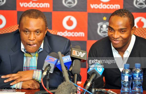 Orlando Pirates chairman Irvin Khoza and Benni McCarthy attend a press conference as McCarthy is unveiled as the Orlando Pirates new signing, on a...