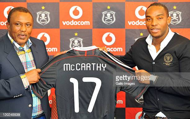 Orlando Pirates chairman Irvin Khoza poses with Benni McCarthy during a press conference as McCarthy is unveiled as the Orlando Pirates new signing,...
